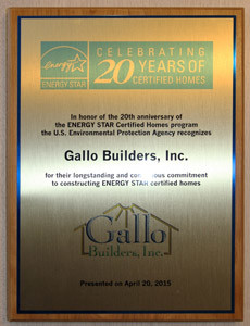 Gallo Builders Energy Star Plaque